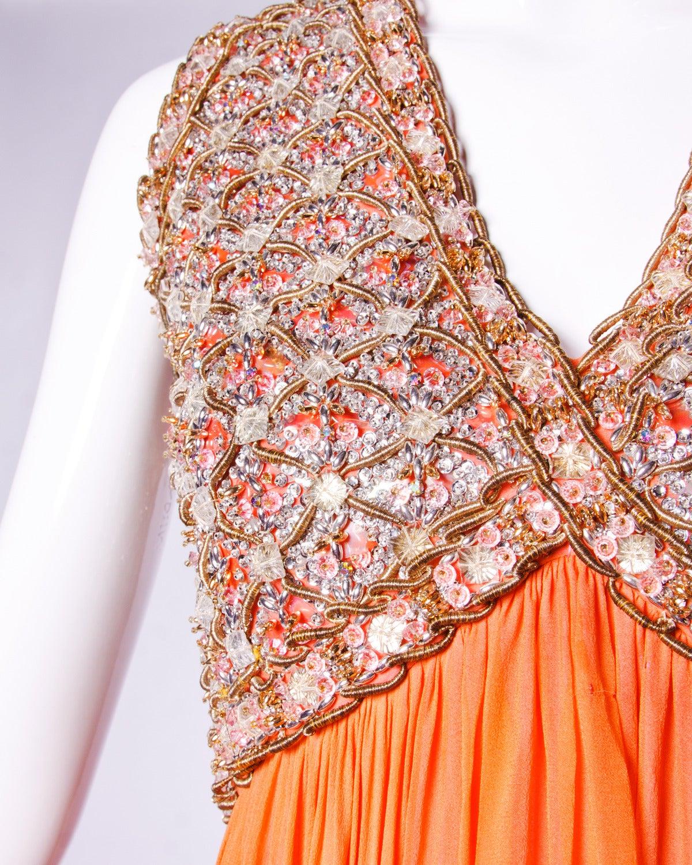 Victoria Royal Ltd. Vintage 1960s 60s Sequin + Beaded Silk Chiffon Maxi Dress 4