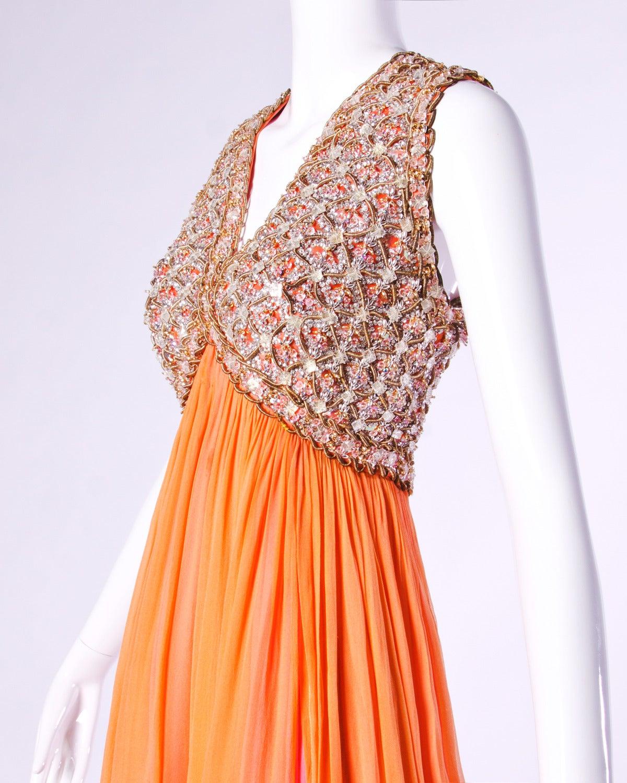 Victoria Royal Ltd. Vintage 1960s 60s Sequin + Beaded Silk Chiffon Maxi Dress 3