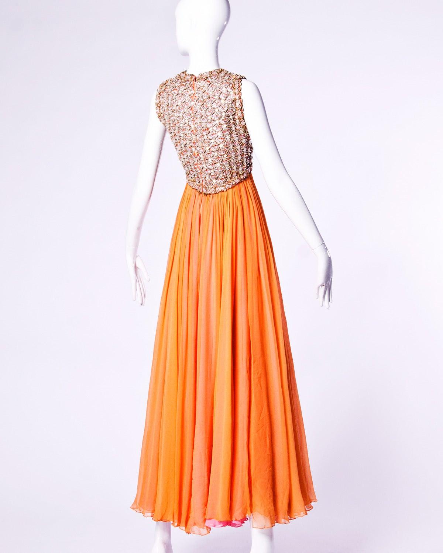 Victoria Royal Ltd. Vintage 1960s 60s Sequin + Beaded Silk Chiffon Maxi Dress 2