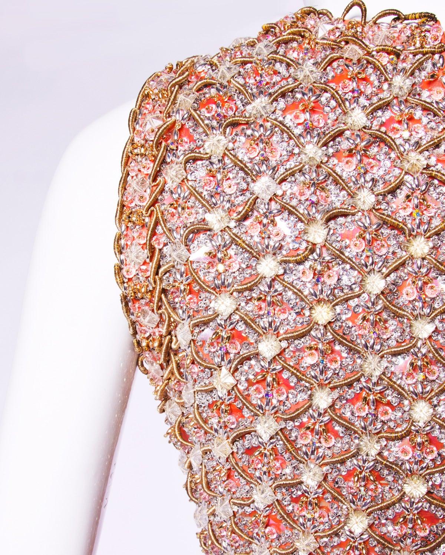Victoria Royal Ltd. Vintage 1960s 60s Sequin + Beaded Silk Chiffon Maxi Dress 5