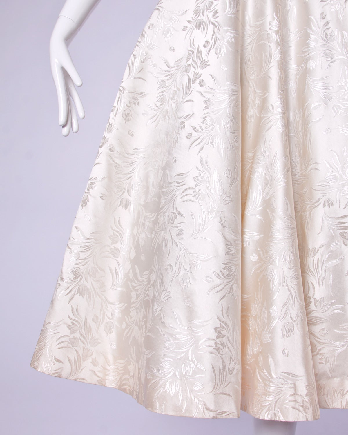 Vintage 1950s 50s Silk Satin Ivory Full Sweep Wedding or Party Dress For Sale 2