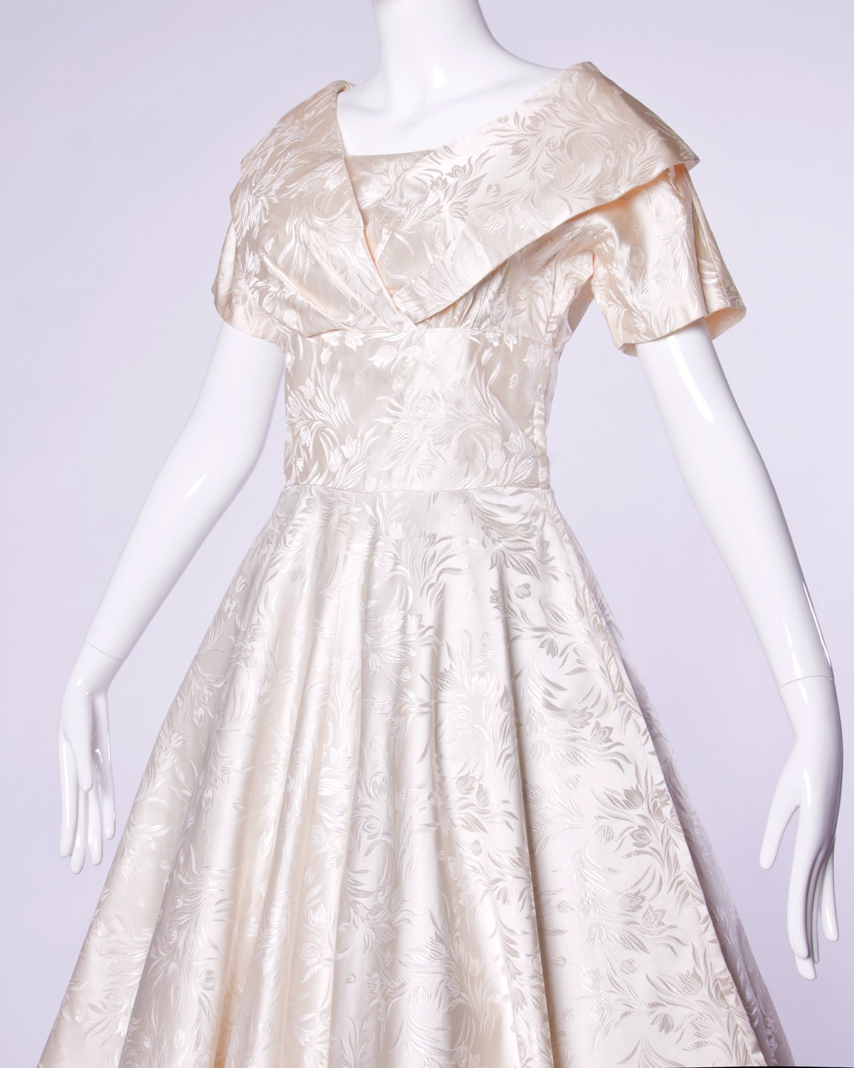 Gray Vintage 1950s 50s Silk Satin Ivory Full Sweep Wedding or Party Dress For Sale