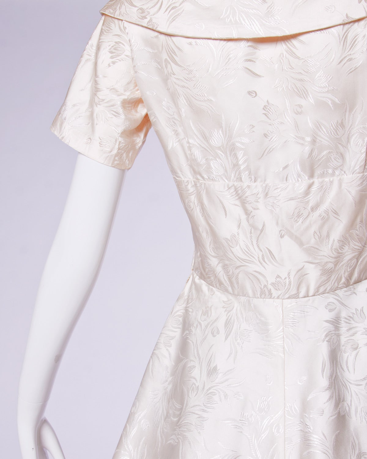 Vintage 1950s 50s Silk Satin Ivory Full Sweep Wedding or Party Dress For Sale 1