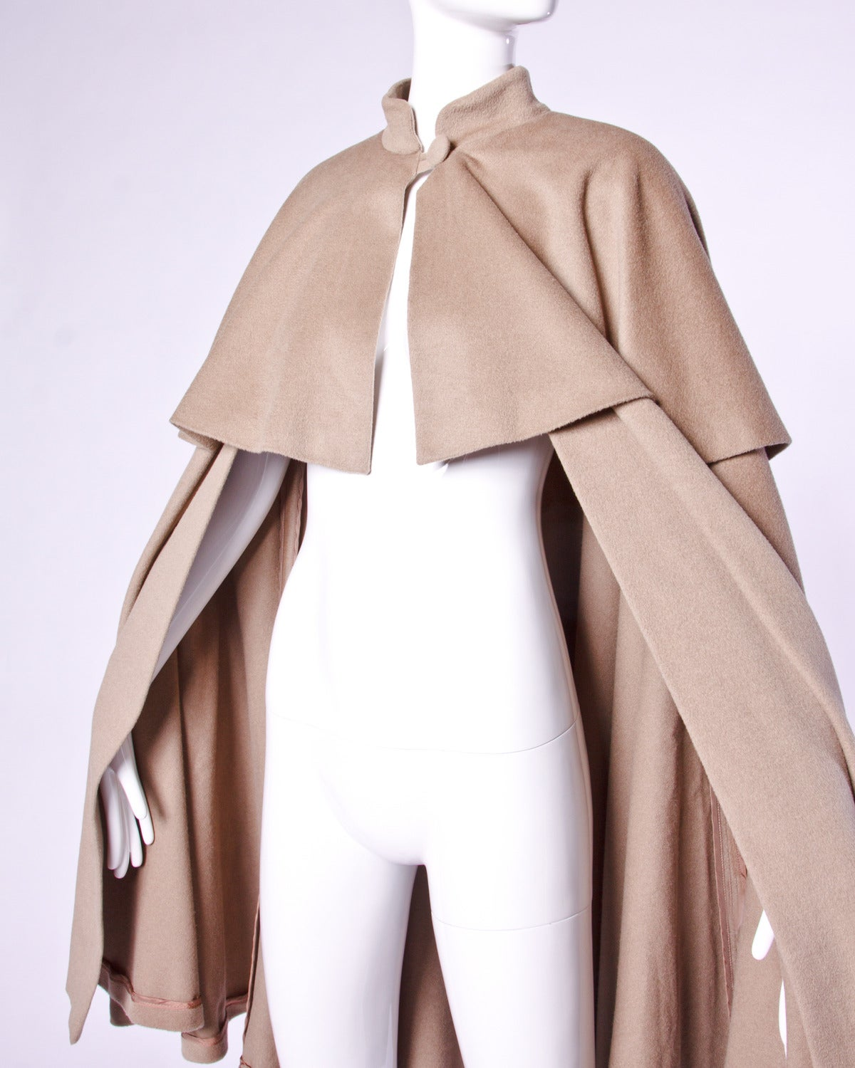 Moschino Couture! Vintage 1990s 90s Beige Wool Cape Coat 3