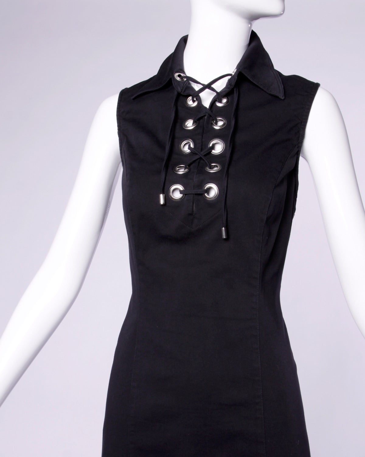 Moschino Vintage 1990s 90s Black Lace Up Grommet Sheath Dress 3