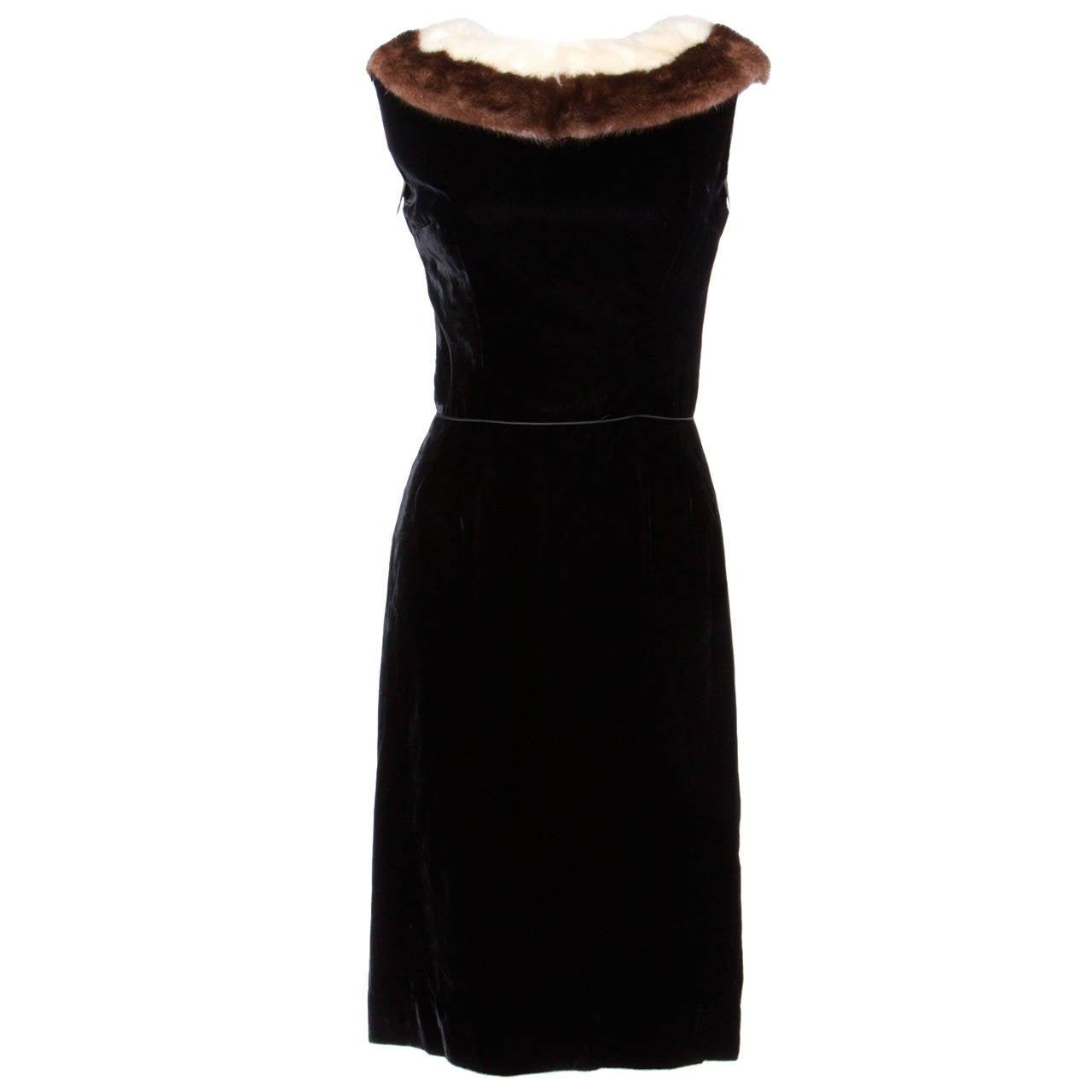 Vintage 1960s 60s Black Velvet Sheath Dress with Mink Fur Trim For Sale
