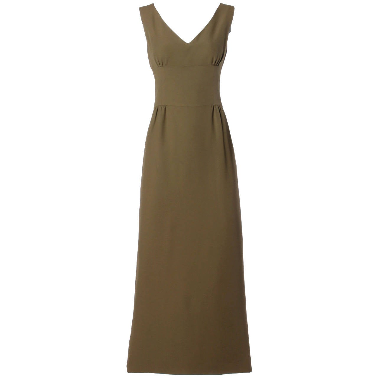 Moschino Vintage 1990s 90s Minimalist Olive Green Maxi Dress