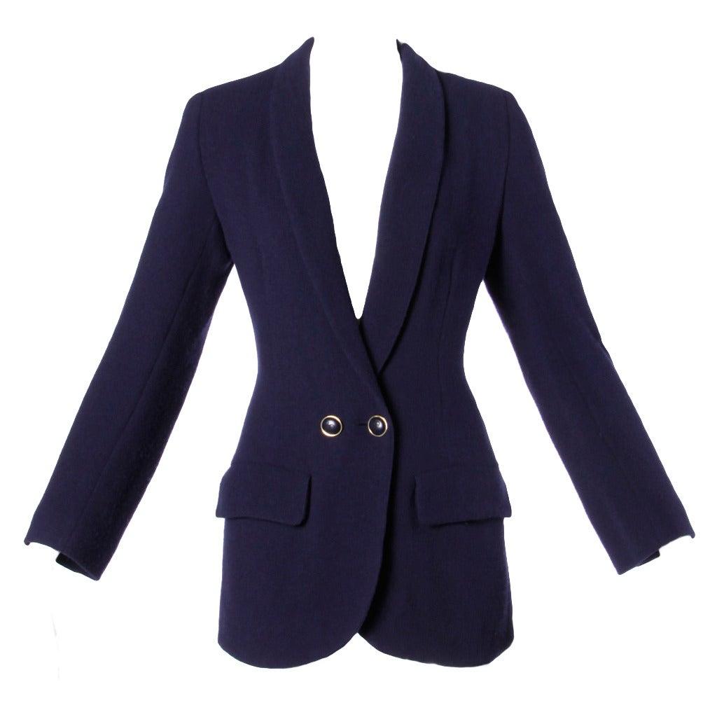 Sonia Rykiel Vintage 1990s 90s Navy Blue Wool Boyfriend Blazer Jacket 1