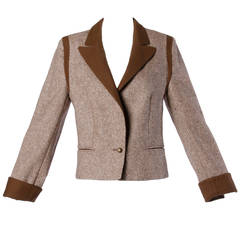 Louis Feraud Vintage Brown Wool Tweed Blazer or Suit Jacket