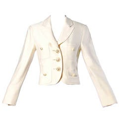 Moschino Couture! Vintage 1990s 90s Cream Blazer or Suit Jacket