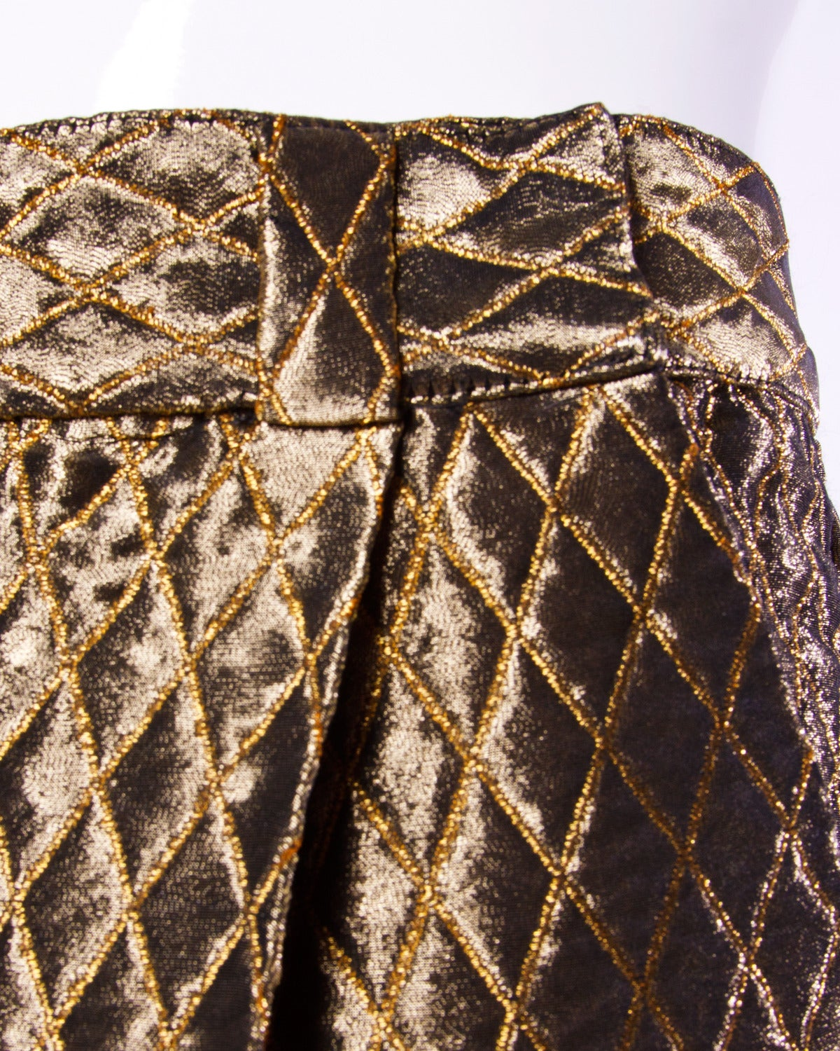 3ef3f7582a659 Women s Gianni Versace Couture Vintage Metallic Gold Quilted High Waisted  Pants For Sale