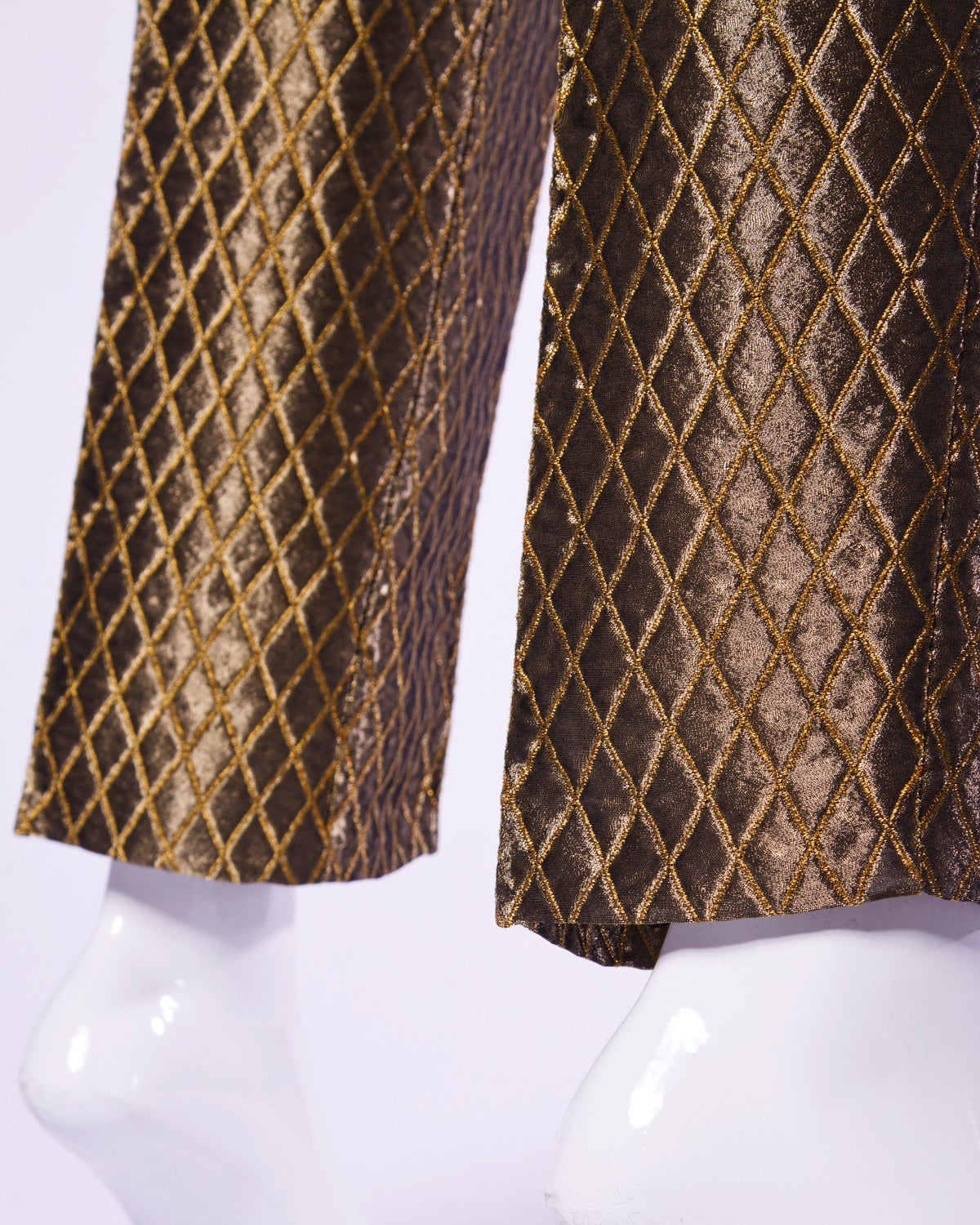 4311dd84b1417 Gianni Versace Couture Vintage Metallic Gold Quilted High Waisted Pants For  Sale 2