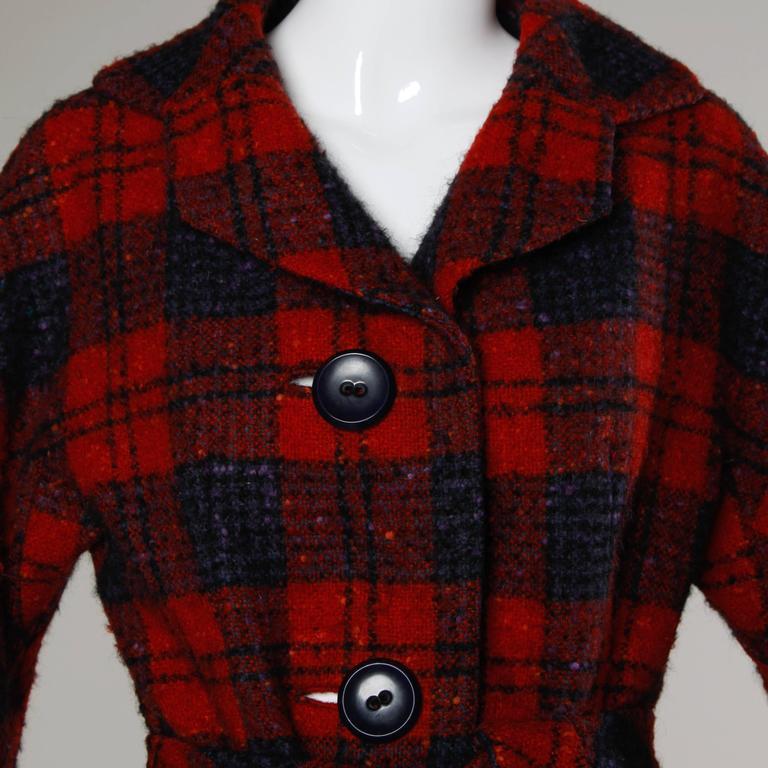Sarmi 1960s Vintage Red Plaid Coat For Sale 1
