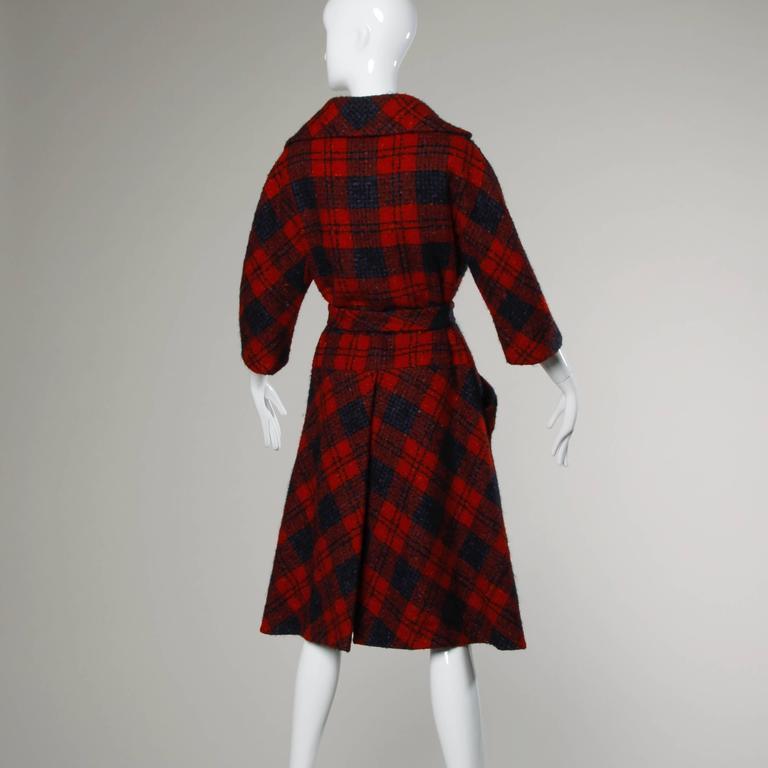 Sarmi 1960s Vintage Red Plaid Coat For Sale 2