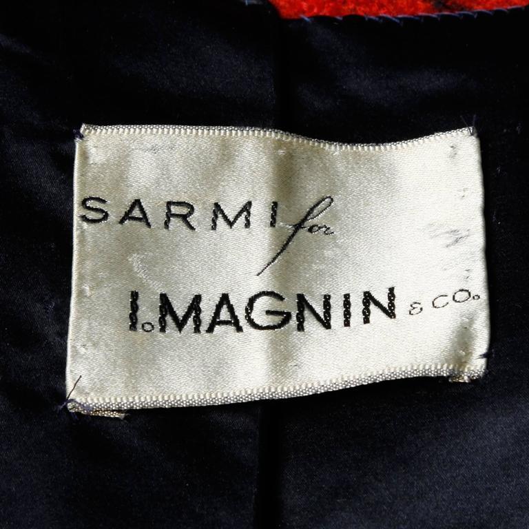 Black Sarmi 1960s Vintage Red Plaid Coat For Sale