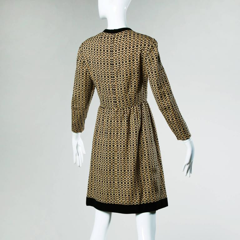 Adele Simpson Vintage 1960s Geometric Wool Dress + Scarf Set 2-Piece Ensemble For Sale 1