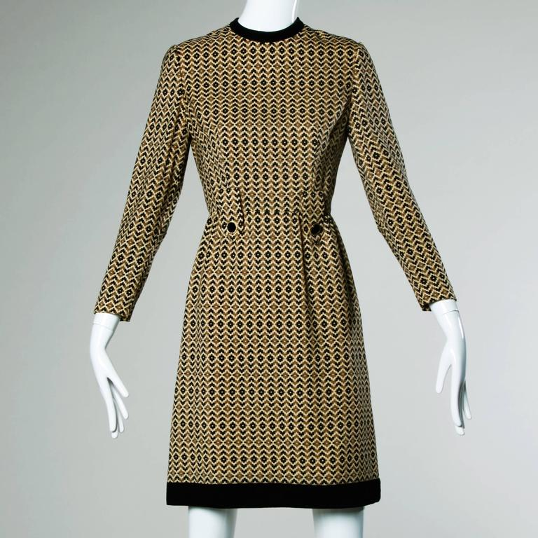 Adele Simpson Vintage 1960s Geometric Wool Dress + Scarf Set 2-Piece Ensemble In Excellent Condition For Sale In Sparks, NV