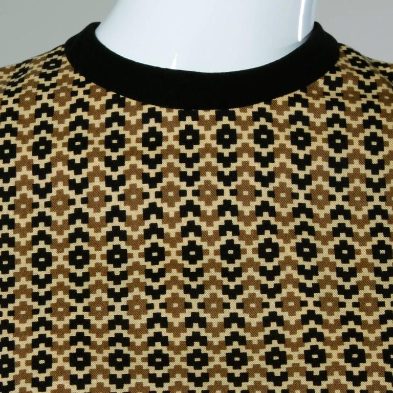 Adele Simpson Vintage 1960s Geometric Wool Dress + Scarf Set 2-Piece Ensemble For Sale 2