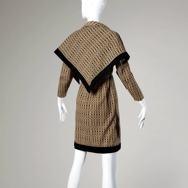 Adele Simpson Vintage 1960s Geometric Wool Dress + Scarf Set 2-Piece Ensemble For Sale 3