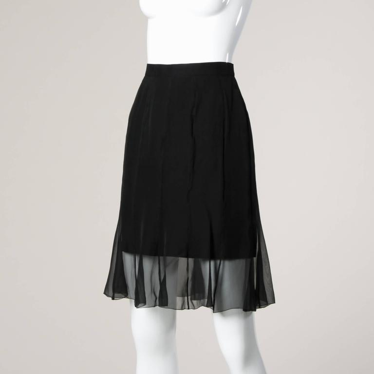 Karl Lagerfeld Vintage Black Skirt with Sheer Mesh Overlay For Sale 1