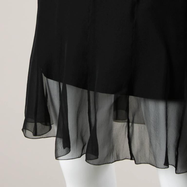 Karl Lagerfeld Vintage Black Skirt with Sheer Mesh Overlay In Excellent Condition For Sale In Sparks, NV