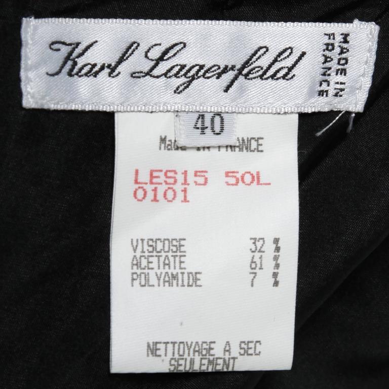 Women's Karl Lagerfeld Vintage Black Skirt with Sheer Mesh Overlay For Sale