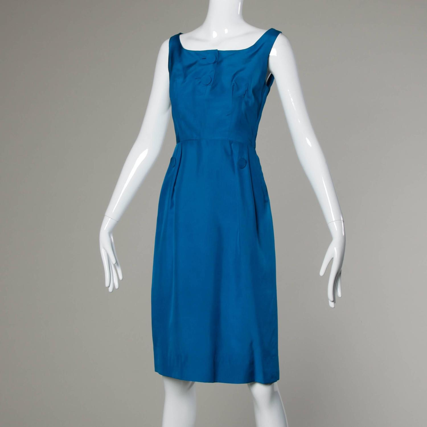 1950s Alfred Shaheen Vibrant Blue Silk Cocktail Dress For ...