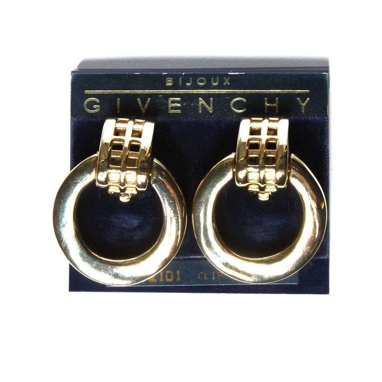 Art Deco Unworn Signed Givenchy Vintage Gold Clip Back Earrings For Sale