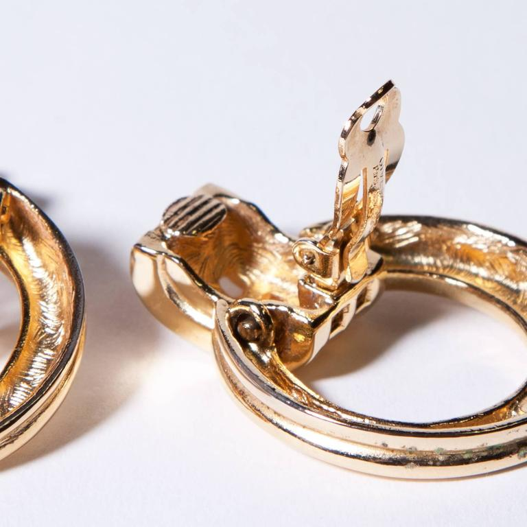 Unworn Signed Givenchy Vintage Gold Clip Back Earrings In New Condition For Sale In Sparks, NV