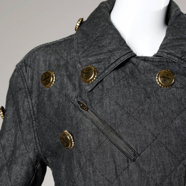 Moschino Vintage Quilted Denim Biker Jacket with Bottle Cap Appliques 2