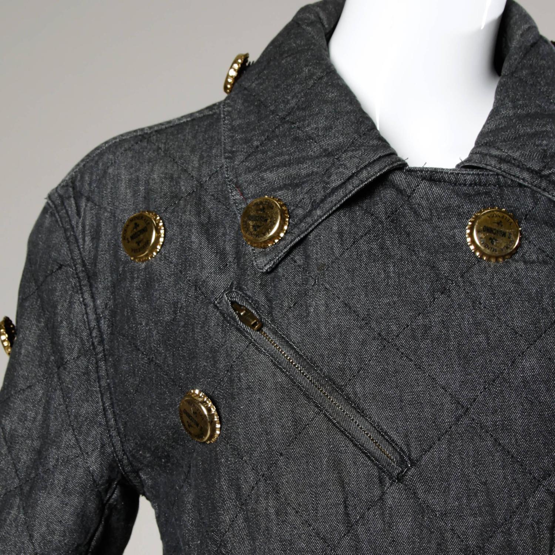 Moschino Vintage Quilted Denim Biker Jacket with Bottle ...