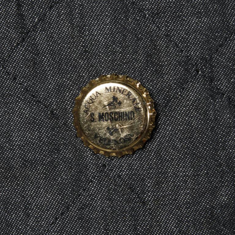 Moschino Vintage Quilted Denim Biker Jacket with Bottle Cap Appliques 10