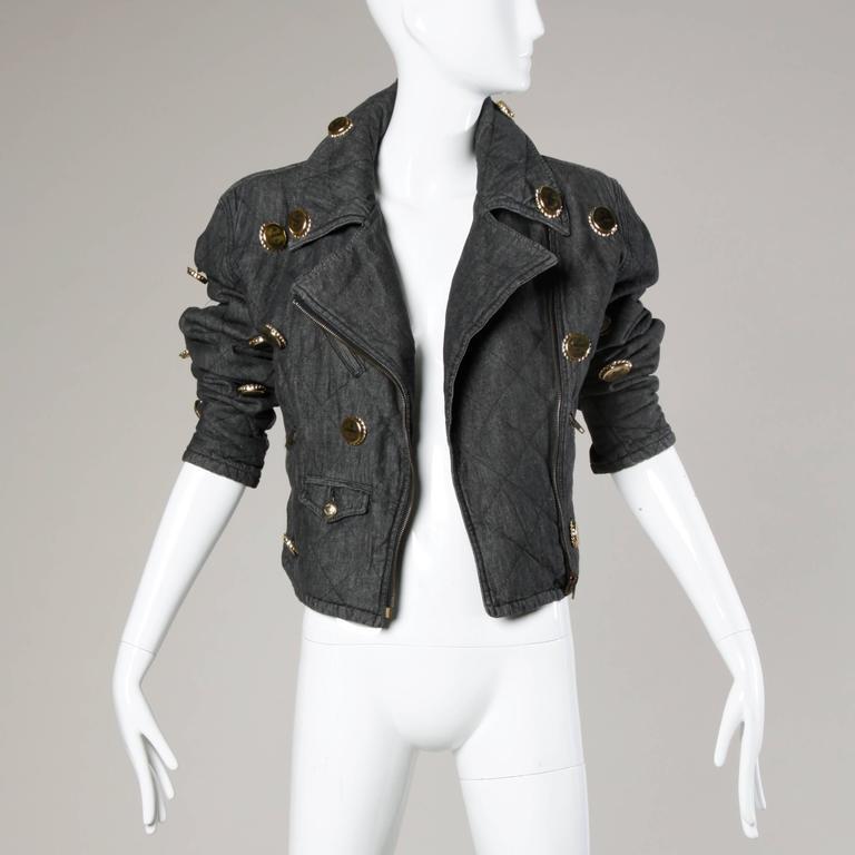 Moschino Vintage Quilted Denim Biker Jacket with Bottle Cap Appliques 9