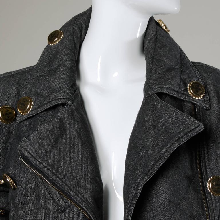 Moschino Vintage Quilted Denim Biker Jacket with Bottle Cap Appliques 5