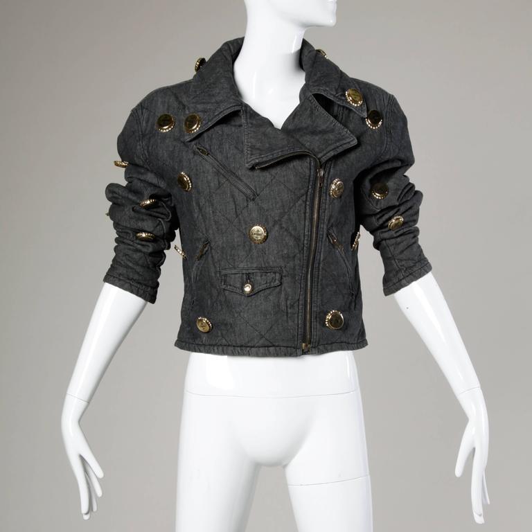 Moschino Vintage Quilted Denim Biker Jacket with Bottle Cap Appliques 6