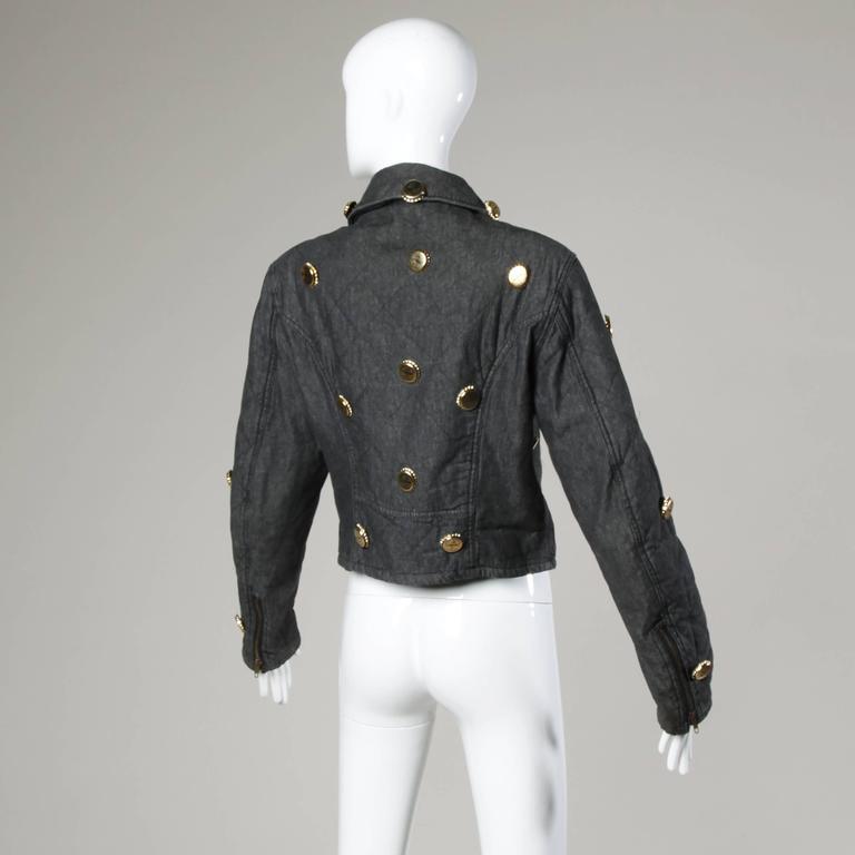 Moschino Vintage Quilted Denim Biker Jacket with Bottle Cap Appliques 8