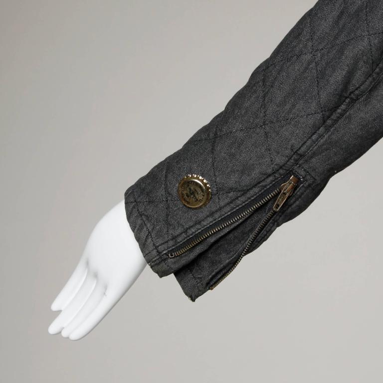 Moschino Vintage Quilted Denim Biker Jacket with Bottle Cap Appliques 7