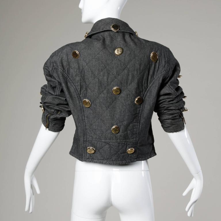Moschino Vintage Quilted Denim Biker Jacket with Bottle Cap Appliques 3