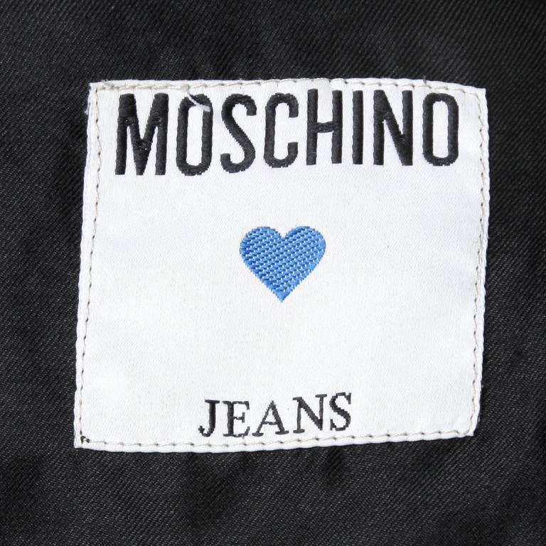 Moschino Vintage Quilted Denim Biker Jacket with Bottle Cap Appliques 4