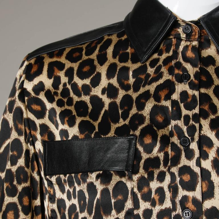 Lillie Rubin Vintage Silk Leopard Print Blouse with Leather Trim 5
