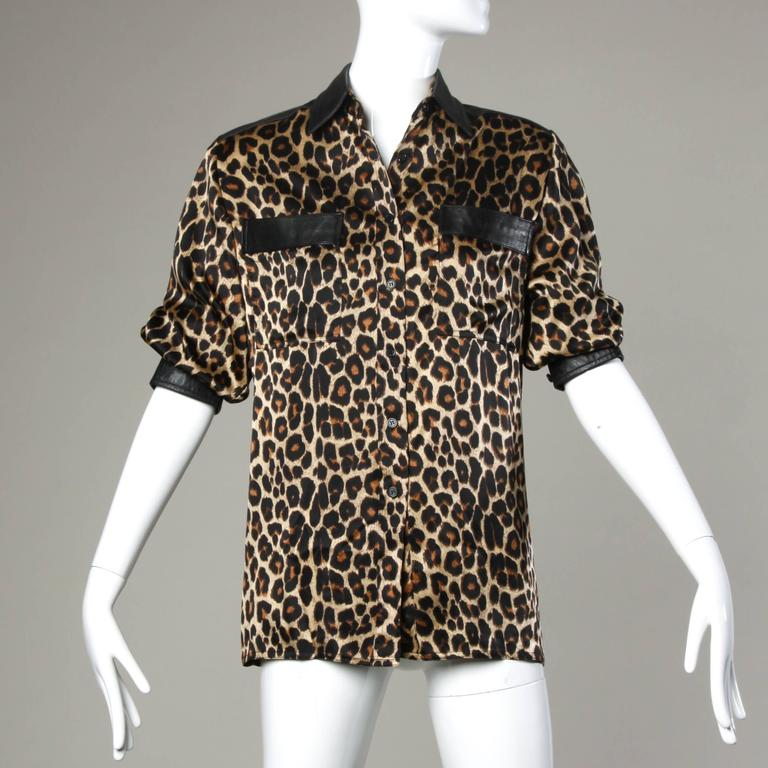 Lillie Rubin Vintage Silk Leopard Print Blouse with Leather Trim For Sale 2