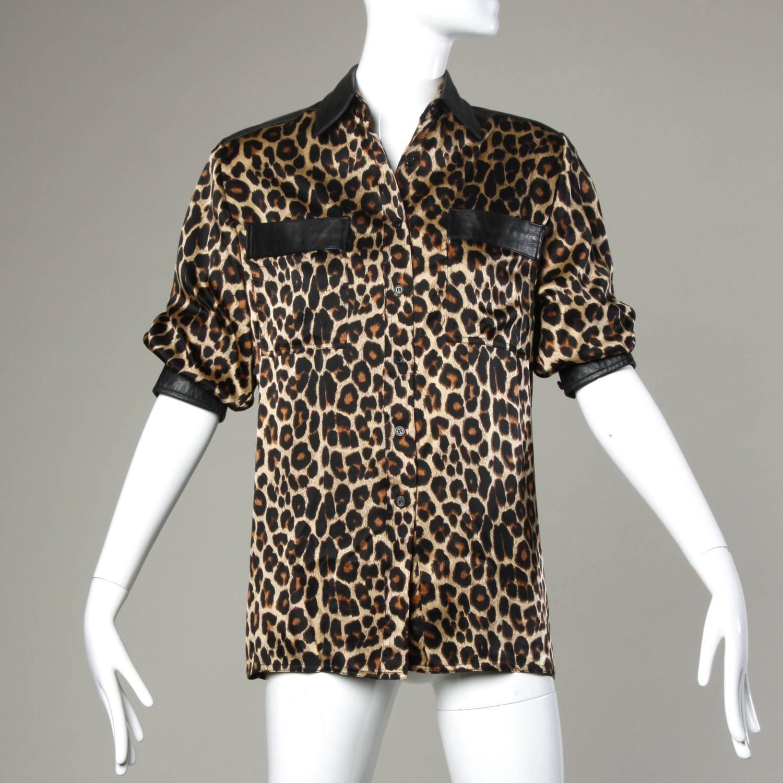Leopard Print Trim Blouse 98