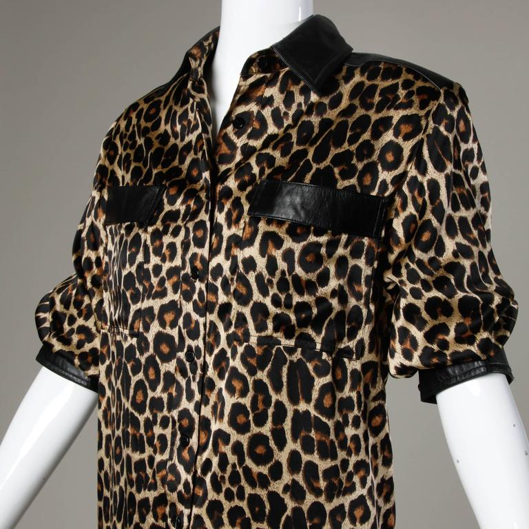 Lillie Rubin Vintage Silk Leopard Print Blouse with Leather Trim 2