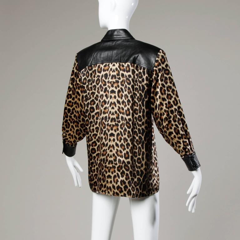 Black Lillie Rubin Vintage Silk Leopard Print Blouse with Leather Trim For Sale