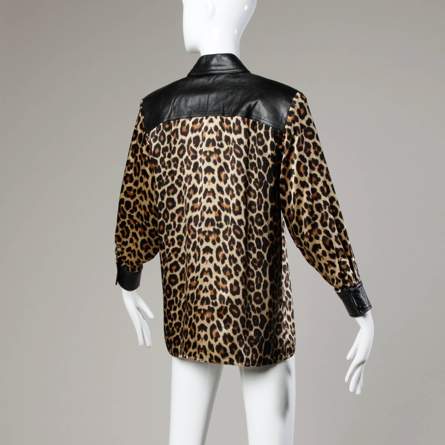 Leopard Blouse With Black Trim 82