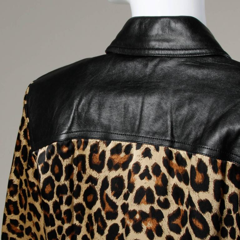 Lillie Rubin Vintage Silk Leopard Print Blouse with Leather Trim For Sale 1