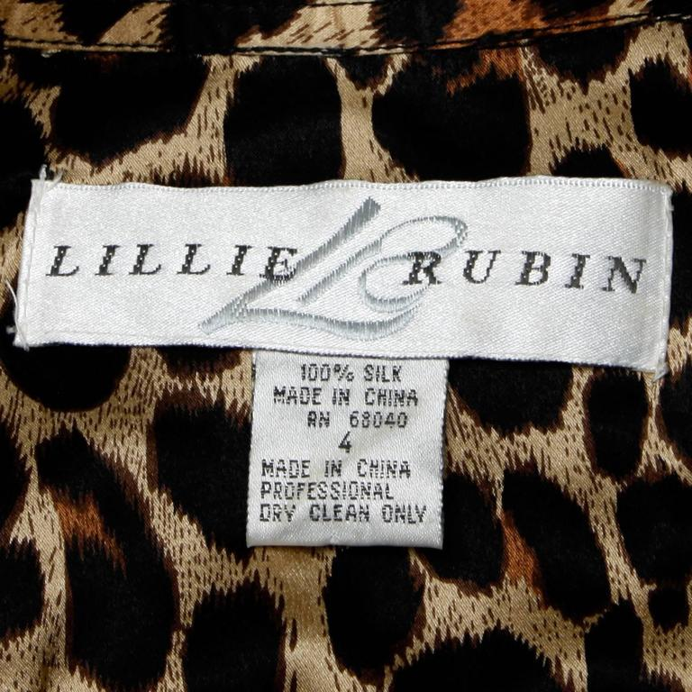 Lillie Rubin Vintage Silk Leopard Print Blouse with Leather Trim In Excellent Condition For Sale In Sparks, NV