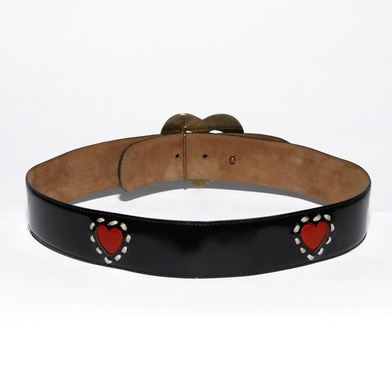 Brown Moschino by Redwall Vintage Leather Heart Belt For Sale