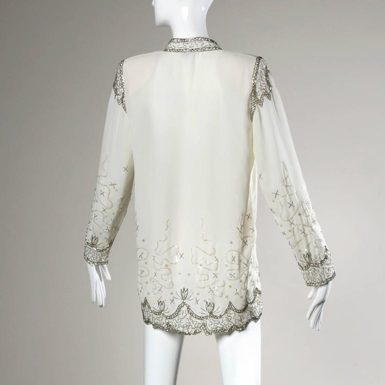 Unworn Fabrice Vintage Sequin + Beaded Flapper Kimono Jacket or Duster In New Never_worn Condition For Sale In Sparks, NV