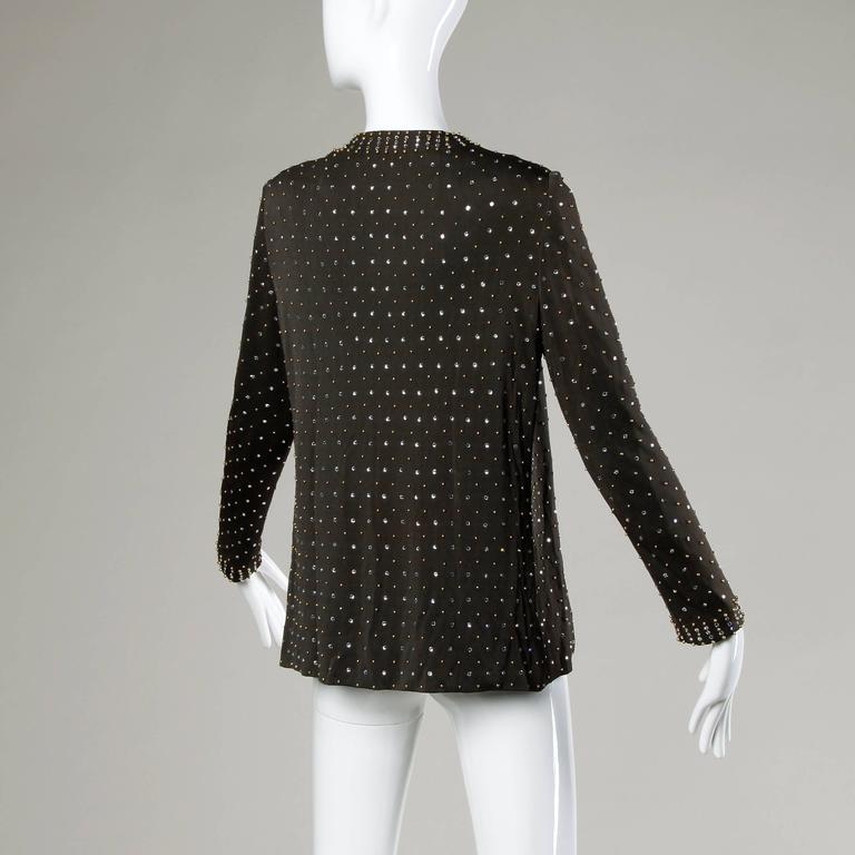 Black Adele Simpson Vintage Crystal Rhinestone + Beaded Silk Jersey Jacket For Sale
